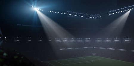 Stadium, foggy night, 3d rendering