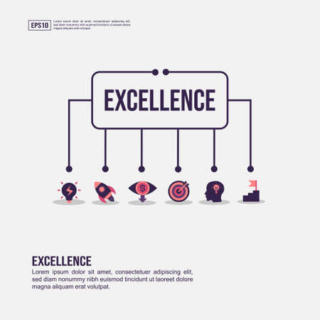 Excellence concept for presentation, promotion, social media marketing, and advertising. Minimalist Excellence infographic with flat icon