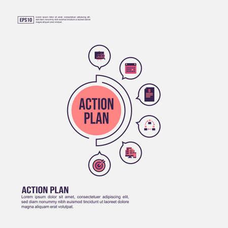Actieplanconcept voor presentatie, promotie, social media marketing en reclame. Minimalistisch actieplan infographic met plat pictogram