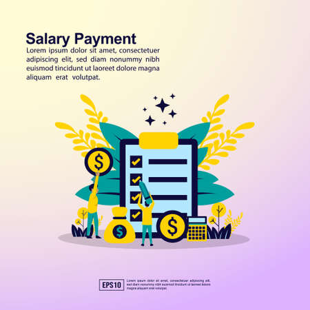 Salary payment concept with people character for banner, presentation, marketing resource, promotion