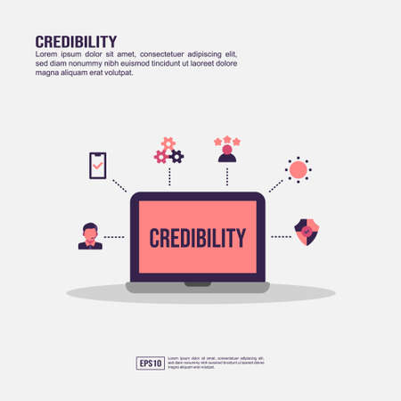 Credibility concept for presentation, promotion, social media marketing, and advertising. Minimalist Credibility infographic with flat icon Illustration