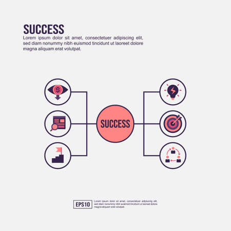 Success concept for presentation, promotion, social media marketing, and advertising. Minimalist Success infographic with flat icon