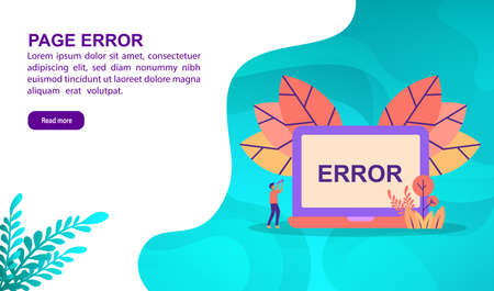 Page error illustration concept with character. Template for, banner, presentation, social media, poster, advertising, promotion
