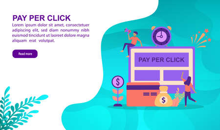Pay per click illustration concept with character. Template for, banner, presentation, social media, poster, advertising, promotion Иллюстрация