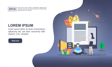 Vector illustration concept of digital marketing with character. Modern illustration conceptual for banner, flyer, promotion, marketing material, online advertising, business presentation