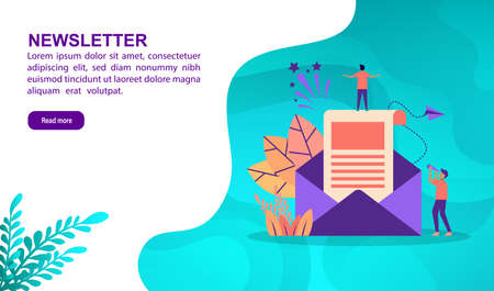 Newsletter illustration concept with character. Template for, banner, presentation, social media, poster, advertising, promotion Иллюстрация