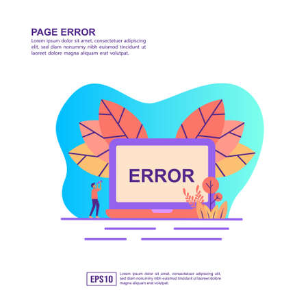 Vector illustration concept of page error. Modern illustration conceptual for banner, flyer, promotion, marketing material, online advertising, business presentation Stock Illustratie