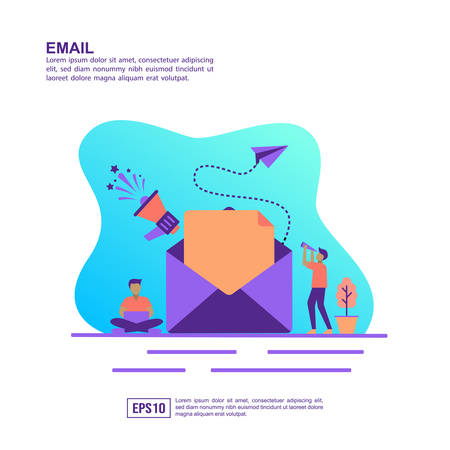 Vector illustration concept of email. Modern illustration conceptual for banner, flyer, promotion, marketing material, online advertising, business presentation Foto de archivo - 129176183