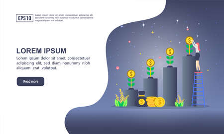 Vector illustration concept of return on investment with character. Modern illustration conceptual for banner, flyer, promotion, marketing material, online advertising, business presentation Stock Illustratie