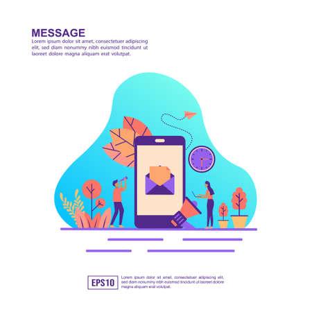 Vector illustration concept of message. Modern illustration conceptual for banner, flyer, promotion, marketing material, online advertising, business presentation 일러스트