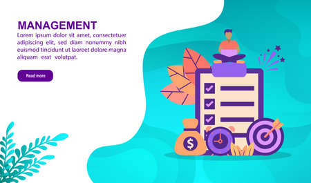 Management illustration concept with character. Template for, banner, presentation, social media, poster, advertising, promotion Stock Illustratie