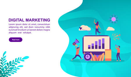 Digital marketing illustration concept with character. Template for, banner, presentation, social media, poster, advertising, promotion Иллюстрация