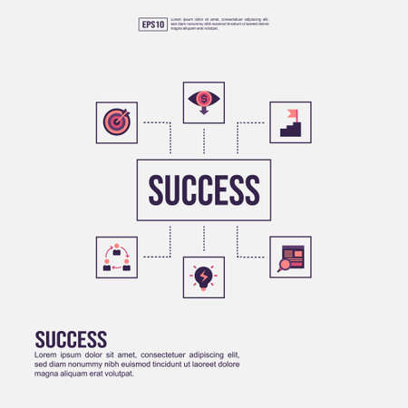 Success concept for presentation, promotion, social media marketing, and advertising. Minimalist Success infographic with flat icon Illustration