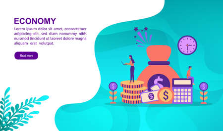 Economy illustration concept with character. Template for, banner, presentation, social media, poster, advertising, promotion