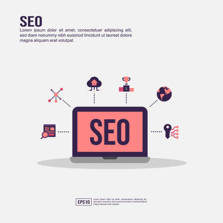 Seo concept for presentation, promotion, social media marketing, and advertising. Minimalist Seo infographic with flat icon