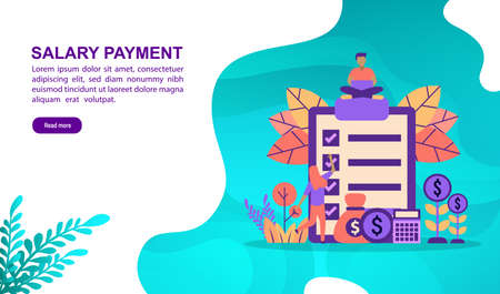 Salary payment illustration concept with character. Template for, banner, presentation, social media, poster, advertising, promotion