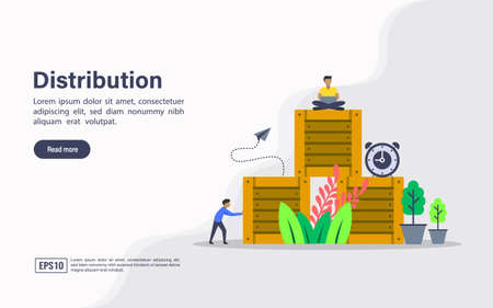 Vector illustration concept of distribution. Modern illustration conceptual for banner, flyer, promotion, marketing material, online advertising, business presentation
