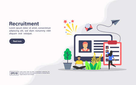 Vector illustration concept of recruitment. Modern illustration conceptual for banner, flyer, promotion, marketing material, online advertising, business presentation