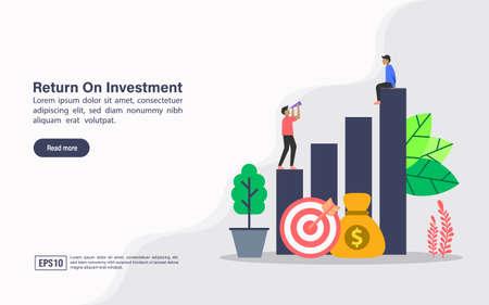 Vector illustration concept of return on investment. Modern illustration conceptual for banner, flyer, promotion, marketing material, online advertising, business presentation