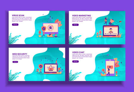 Set of modern flat design templates for Business, virus scan, video marketing, web security, video chat. Easy to edit and customize. Modern Vector illustration concepts for business