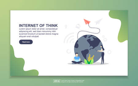 Landing page template of internet of think. Modern flat design concept of web page design for website and mobile website. Easy to edit and customize Vetores
