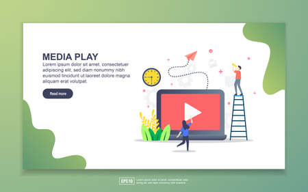 Landing page template of media play. Modern flat design concept of web page design for website and mobile website. Easy to edit and customize Illustration