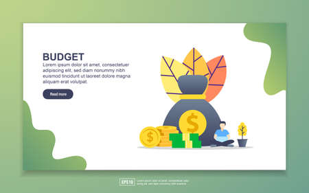 Landing page template of budget. Modern flat design concept of web page design for website and mobile website. Easy to edit and customize