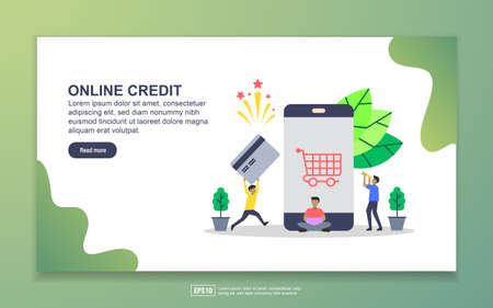Landing page template of online credit. Modern flat design concept of web page design for website and mobile website. Easy to edit and customize.