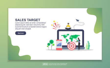 Landing page template of sales target. Modern flat design concept of web page design for website and mobile website. Easy to edit and customize.