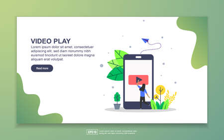Landing page template of video play. Modern flat design concept of web page design for website and mobile website. Easy to edit and customize.
