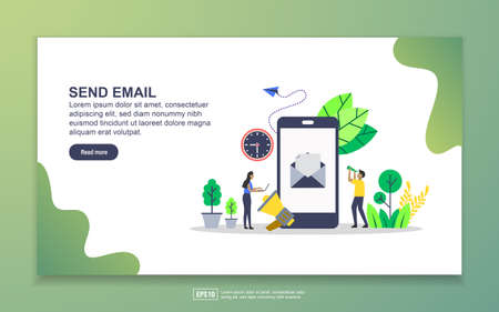 Landing page template of send email. Modern flat design concept of web page design for website and mobile website. Easy to edit and customize.