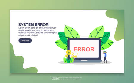 Landing page template of system error. Modern flat design concept of web page design for website and mobile website. Easy to edit and customize.  イラスト・ベクター素材