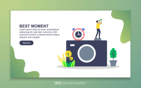 Landing page template of best moment. photography concept. Modern flat design concept of web page design for website and mobile website. Easy to edit and customize. Фото со стока - 129784601