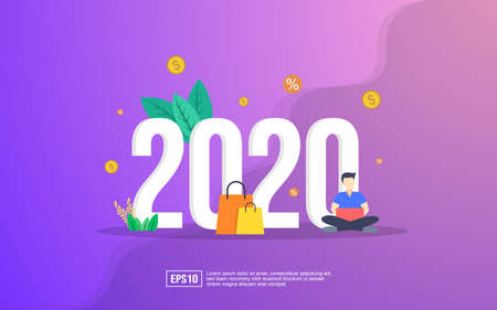 New year illustration concept. Year of opportunities for internet retail and shopping, sale and discount. Flat vector illustration for website.  イラスト・ベクター素材