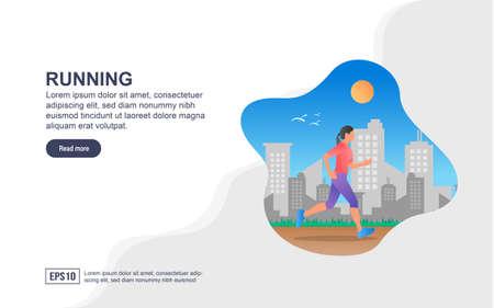 Vector illustration concept of Running. Modern illustration conceptual for banner, flyer, promotion, marketing material, online advertising, business presentation