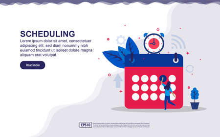Vector illustration of scheduling & time management concept with tiny people. Illustration for landing page, social media content, advertising. easy to edit and customize.