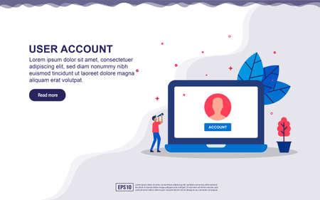Vector illustration of user account & mail user concept with device and tiny people. Illustration for landing page, social media content, advertising. easy to edit and customize. Çizim