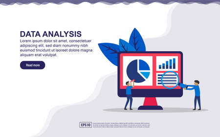 Landing page concept of data analysis. Modern flat design illustration