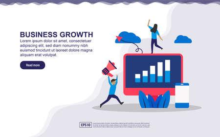 Concetto di illustrazione della crescita del business. Successo dell'uomo d'affari, profitto aziendale. Illustrazione vettoriale facile da modificare e personalizzare