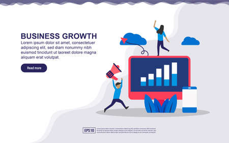 Illustration concept of business growth. Business man success, business profit. Vector illustration easy to edit and customize Stock Illustratie