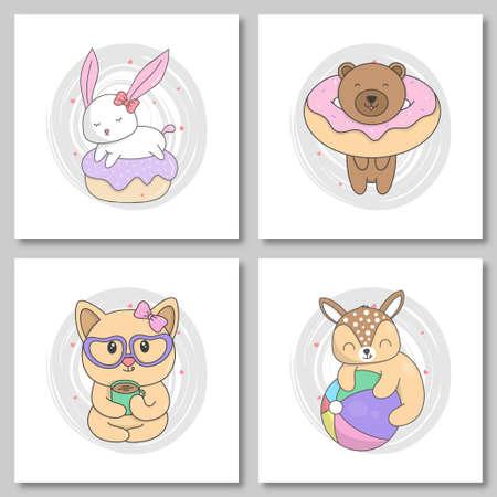 Set of cute animal hand draw style. Bunny sleep on donut, baby bear with donut, cute cat drink coffee, baby deer play ball. vector illustration