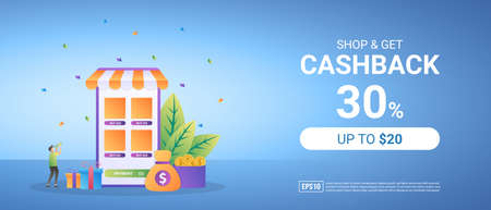 Get cashback from online shopping. Reward program for loyal customers. Promotion of world holidays. Suitable for web landing page, marketing, advertising, promotion, banner. Vector illustration