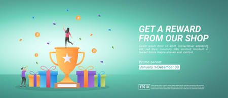 Reward and promotion programs. Get awards by shopping online. Gifts for loyal customers. Suitable for web landing page, marketing, advertising, promotion, banner. Vector illustration