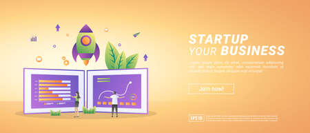 Starting a business concept. Start a project and develop a strategy. Analyze data management. Suitable for web landing page, marketing, advertising, promotion, banner. Vector illustration