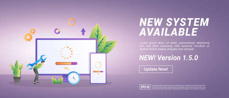 Updating system concept. The process of upgrading to System Update, replacing newer versions. Suitable for web landing page, marketing, advertising, promotion, banner. Vector illustration