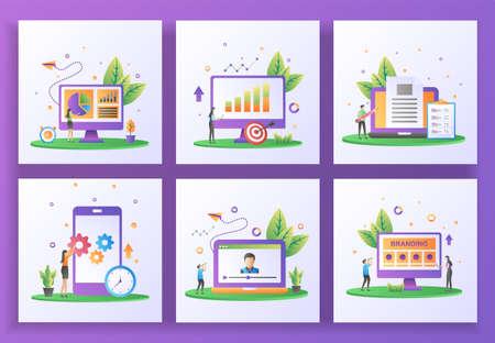Set of flat design concept. Data management, Reporting sales, Content creator, Mobile app update, Online streaming, Branding. Suitable for web landing page, ui, banner template. Vector Illustration Vektorové ilustrace