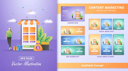 Content marketing material set. Get cashback from online shopping. Reward program for loyal customers. Including Landing page, Social media post and story, Web banner. Vector illustration