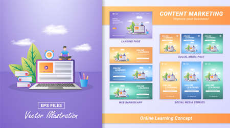 Content marketing material set. Register for courses and study online. Digital education, online learning. Including Landing page, Social media post and story, Web banner. Vector illustration