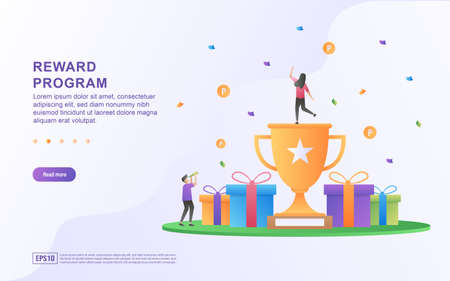 Reward program concept design, people getting cash rewards and gift from online shopping, Cash back program for customers. Suitable for web landing page, marketing material, mobile app, web banner.