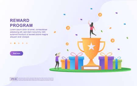 Reward program concept design, people getting cash rewards and gift from online shopping, Cash back program for customers. Suitable for web landing page, marketing material, mobile app, web banner.